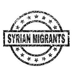 Grunge textured syrian migrants stamp seal vector