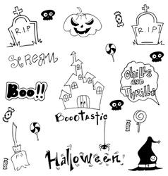Halloween doodle art castle pumpkins vector