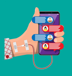 hand connected with needle to mobile smart phone vector image