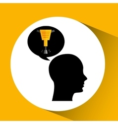 Head silhouette jackhammer construction icon vector