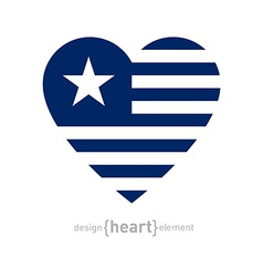 heart with stripes and star vector image