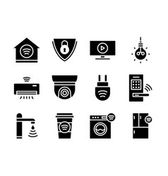 home smart devices icon set black solid style vector image