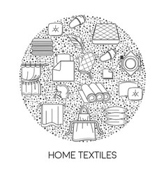 Home textile shop isolated icon cotton fabric vector