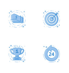 Icons with cash aim or targe goal 24 7 coin vector