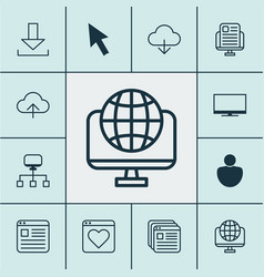 Internet icons set with cloud tabs news website vector