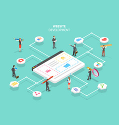 isometric flat concept of web services vector image