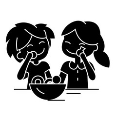 Kids eating candy icon sig vector