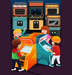 kids playing arcade games vector image