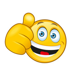 laughing smiley with a thumbs up sign vector image