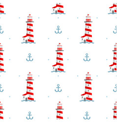 lighthouse anchor and waves vector image