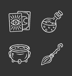 Magic chalk icons set tarot cards potion witch vector