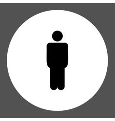 Man flat black and white colors round button vector image