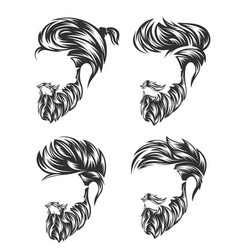 Mens hairstyle set and hirecut with beard mustache vector