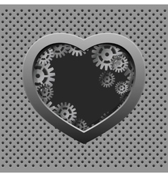 Metal heart with silver gears on the iron vector