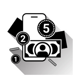 mobile banking icon silhouette money and coins vector image
