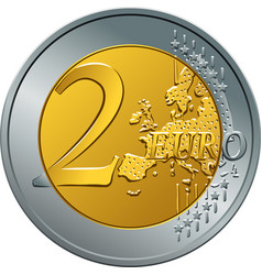 Money gold coin two euro vector