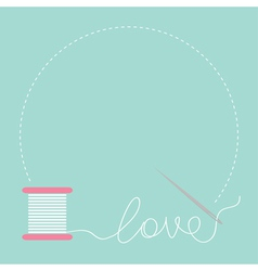 needle and spool thread round frame flat design vector image