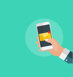 new email on the smartphone screen notification vector image