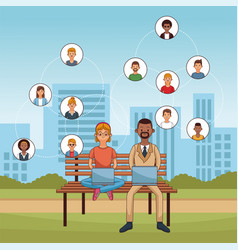 people and social media vector image