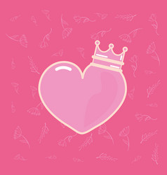 pink heart love with crown vector image