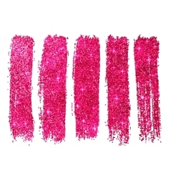 Pink shining glitter polish samples isolated on vector