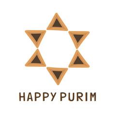 purim holiday flat design icons of hamantashs in vector image