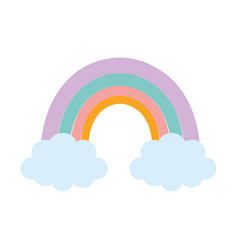 rainbow clouds season nature cartoon vector image