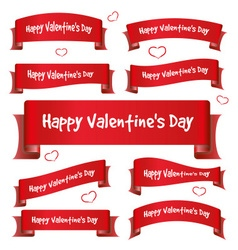 Red valentine day curved ribbon banners eps10 vector