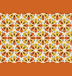 retro orange and yellow color 60s flower motif vector image