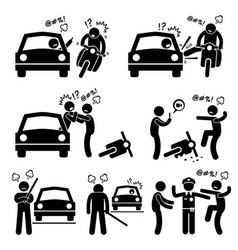Road bully driver rage stick figure pictograph vector