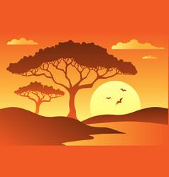 Savannah scenery with trees 1 vector