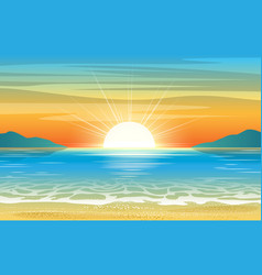 Seascape sunset background vector