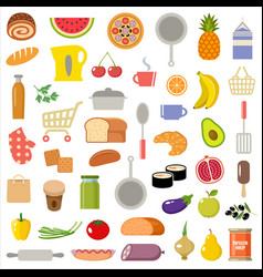 Set kitchen items and products vector