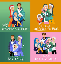set of family portraits in vector image
