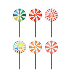 Set of sweet lollipop christmas sugar cane vector
