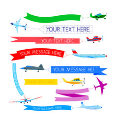 set planes with banners airplanes or aircraft vector image