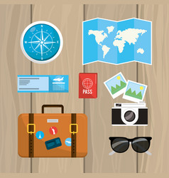 set travel passport with ticket and journey vector image