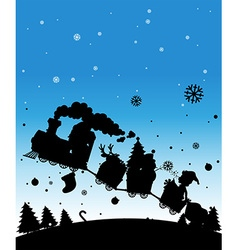 Silhouette train full of christmas things vector