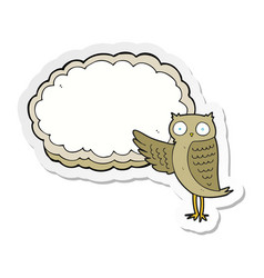 Sticker of a cartoon owl pointing vector