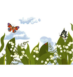 summer banner with flowers and butterflies vector image