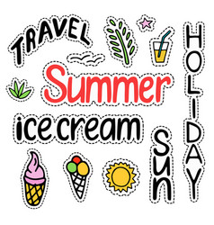 summer set of isolated cute colorful patches in vector image