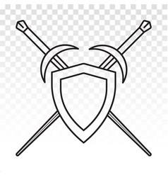 Sword shield crossed sheath in shield vector