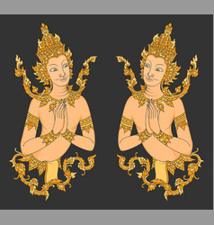 Thai style two angels art pattern vector