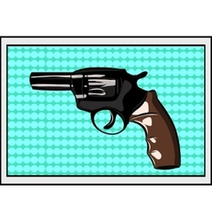 The pop art Gun on a polka-dot background vector image