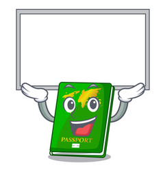 Up board green passport in a character bag vector