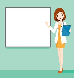Woman Doctor Holding Clipboard With White Board vector