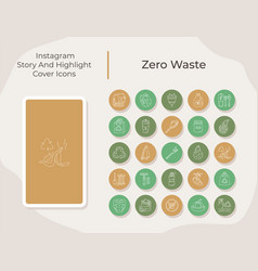 Zero waste social media story and highlight cover vector
