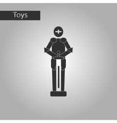 black and white style toy child soldier Knight vector image