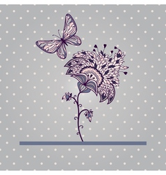 card with flower and butterfly vector image