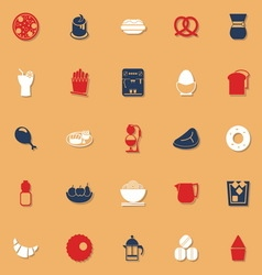 Easy meal classic color icons with shadow vector